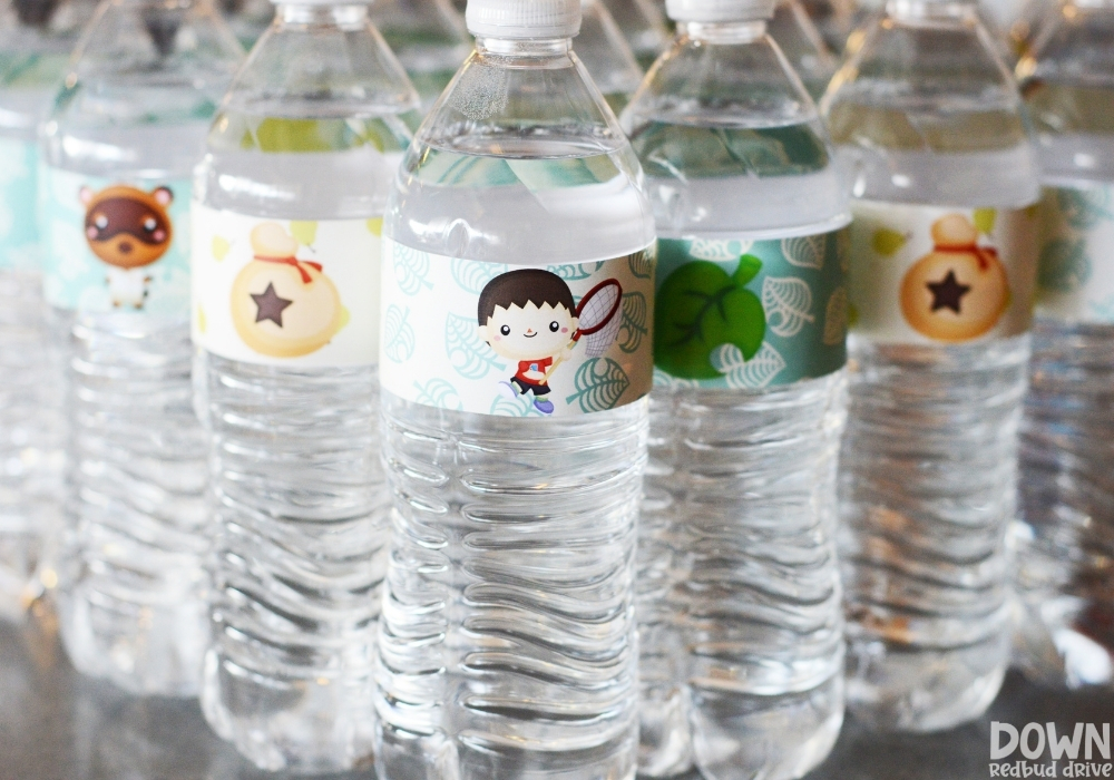 A closeup of the Animal Crossing water bottle labels.