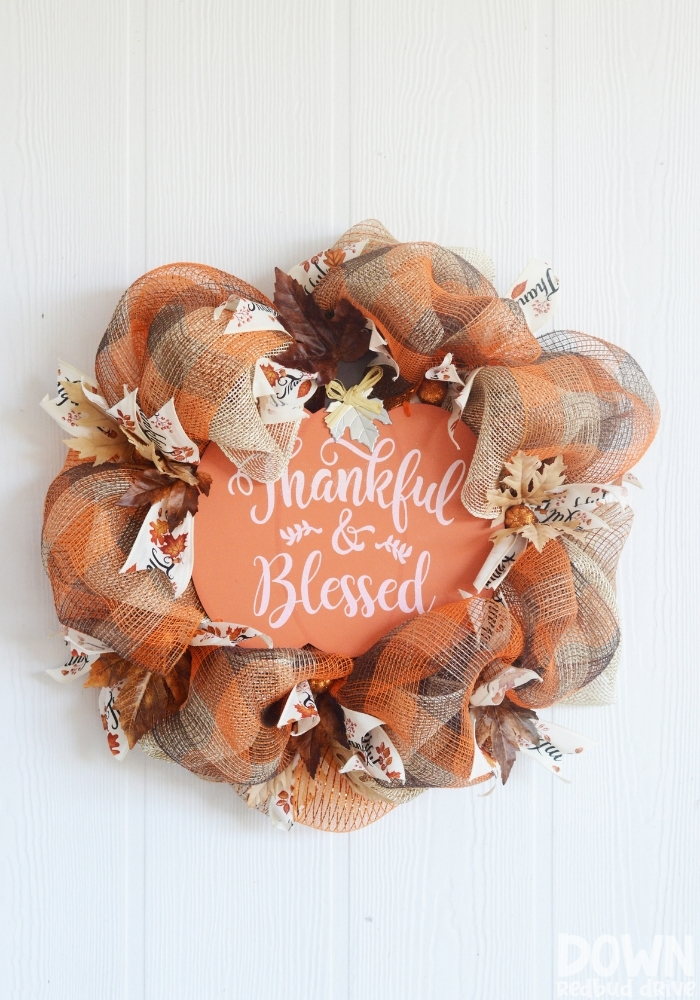 A tall close up of the finished DIY Thanksgiving Mesh Wreath.