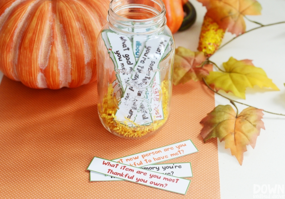 Wide closeup of the DIY thanksgiving gratitude game.