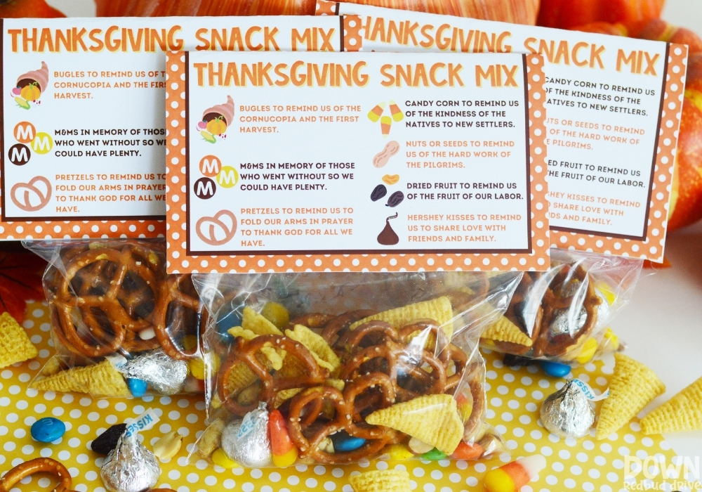 Three bags of the Thanksgiving Snack Mix.