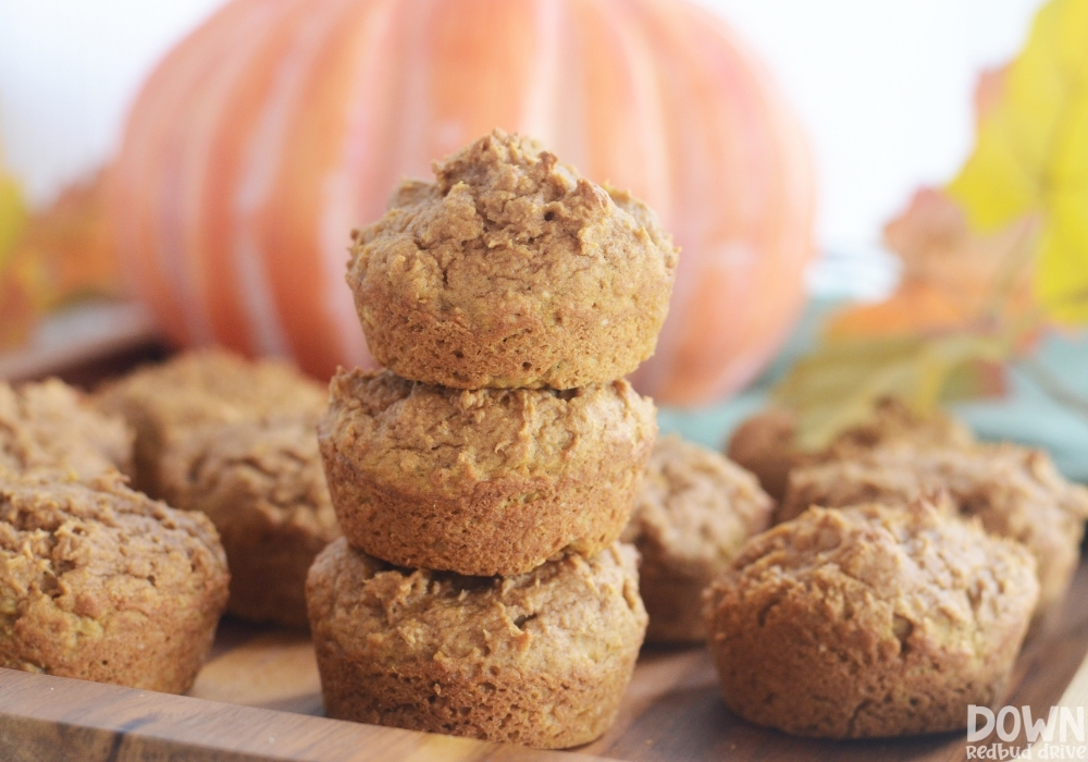 Close up of the finished 3 Ingredient Pumpkin Muffins piled up.