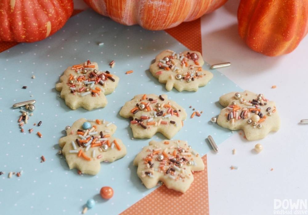 Overhead view of the finished Fall Sprinkle Cookies.